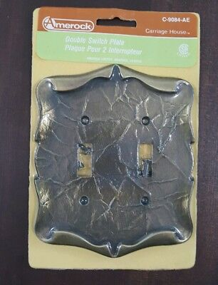 Amerock Carriage House Antique Brass Double Toggle Switch Wall Plate Cover NOS