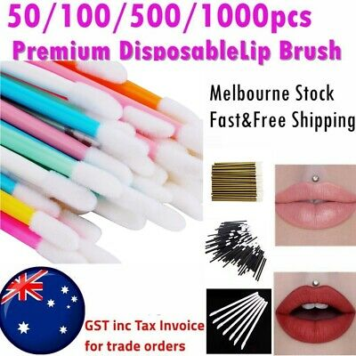 50/500/1000 Lip Gloss Brush Disposable Lip Wands Lipstick Removal 4 Colours AUS