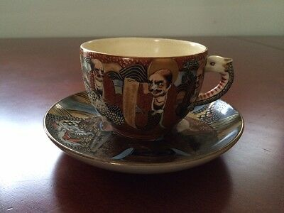 Antique Japanese Satsuma Immortal Cup and Saucer