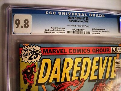 DAREDEVIL #133 CGC 9.8 OWW. 1976. Nice G. Kane cover. The art explains the story