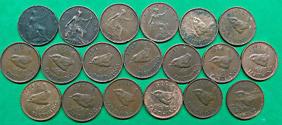 Lot of 19 Different Old British Farthing Coins 1901-1953  !!