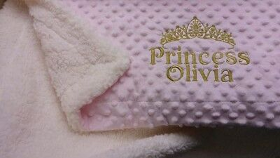 Tiara Dimple Grey White Pink Blue Boy Girl Personalised Embroidered Baby Blanket