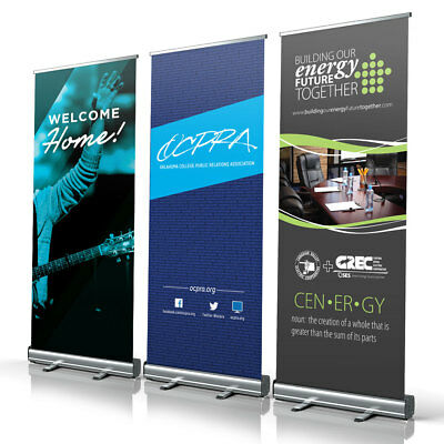 "33"" X 79"" Retractable Banner Stand Roll Pop Up Trade Show Display Free Printing"