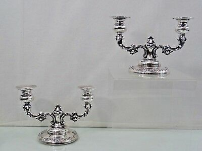 NICE VINTAGE STERLING SILVER PAIR of CANDLESTICKS SMALL CANDELABRAS ornate Roses