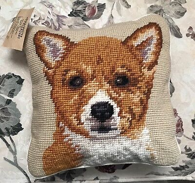 Handcrafted Needlepoint Welsh Corgi Puppy Dog Pillow