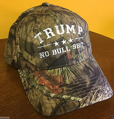 TRUMP NO BULL $HIT Donald Trump Cap Mossy Oak with White Embroidery