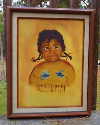 vintage Native American Indian child oil painting framed unsigned