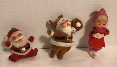 Vtg 1960s NAPCO PIXIE ELF & Santa  Xmas Tree Ornament Lot Of 3