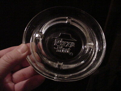 Vintage PIZZA HUT RESTAURANT 1980's ADVERTISING CLEAR GLASS ASHTRAY