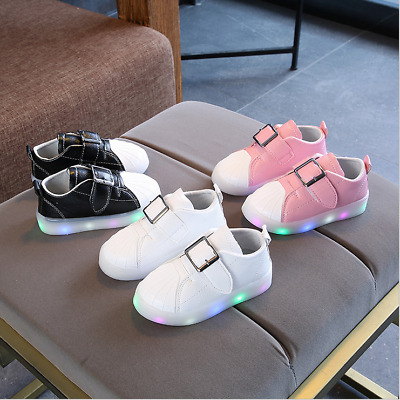 LE Led Light Shoes Boys Girls Kid Luminous Children Classic Casual White Sneaker