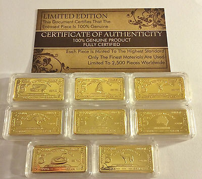 """Set of 8 x 5 g Certified """"Aust Animal Series"""" 999 24 k Gold Plated, Great Gift"""