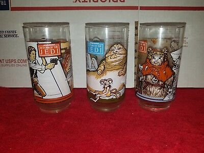 Star Wars Glass Lot Of  Return Jedi 1983 Burger King Coca Cola Collector VTG