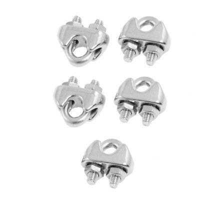 """5 Pcs 304 Stainless Steel Saddle Clamp Cable Clip For 3/25"""" 3Mm Wire Rope Z1D4"""