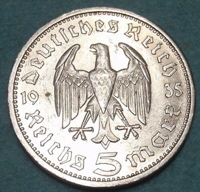 1935-E NAZI HINDENBURG 5 Mark .900 SILVER COIN-German WW2 GERMANY 5 ReichsMark