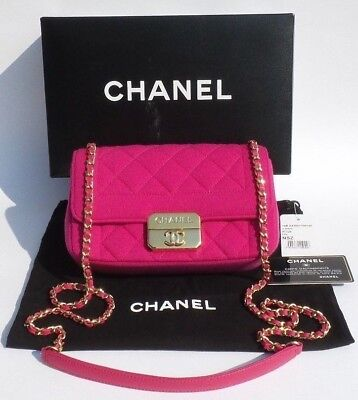 426b8cb45750 CHANEL 14B Fuchsia Hot Pink Quilted Jersey Gold HW Chic With Me Mini Flap  Bag EC