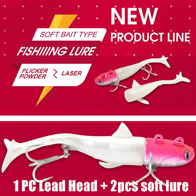 Shad worm  Silicone  sea Lead Head hook Minnow Lure T Tail Soft  bass Bait