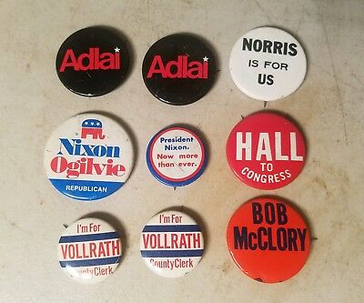 VTG Political Campaign Pin Button Lot Nixon McClory Adlai Hall Norris Vollrath