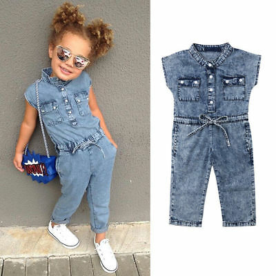 UK Summer Toddler Baby Kids Girls Denim Romper Bodysuit Jumpsuit Outfits Clothes