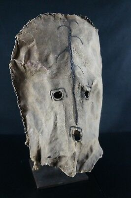 27# EX FLAK GALLERY, Paris - Native American Leather Hood - 19th C. - PUBLISHED