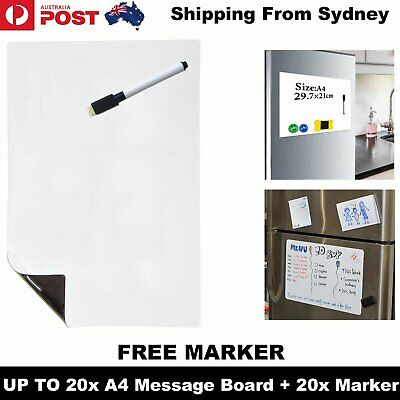 A4 Fridge Magnetic Whiteboard + Marker Memo Reminder Board Pen Eraser Magnet Lar