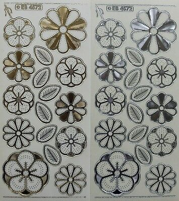 Embossed Flowers & Leaves Embroidery PEEL OFF STICKERS Leaf Flower Stitching