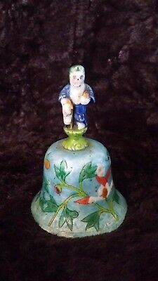 VTG / Antique Chinese Enamel Bell w Clapper Featuring An Immortal God As Handle