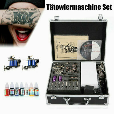 Complet Tattoo Kit Set de Tatouage 4 Machine à Tatouer Ink Power Supply Tip DHL
