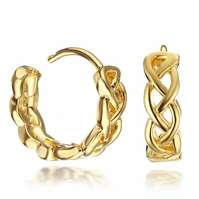 24K Yellow Gold Twisted Infinity Hoop Small Huggie Women Earrings 074AUINF