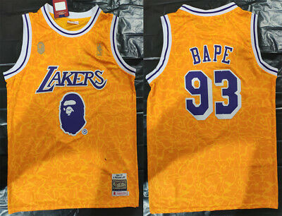 New Men s Los Angeles Lakers  93 Snoop Dogg Basketball jersey joint BAPE  yellow edd57017c