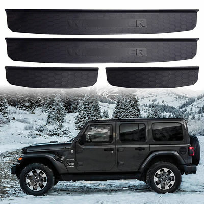 For 2018 2019+ Jeep Wrangler JL Door Plate Sill Entry Guards 4-Door Accessories