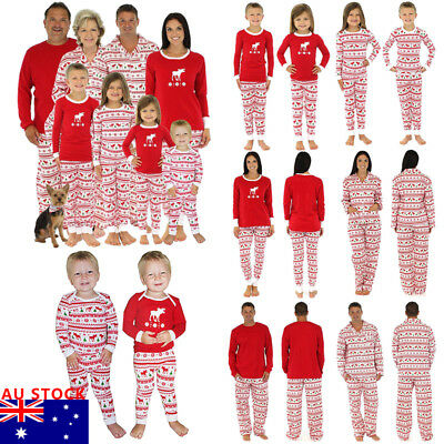 Christmas Family Red Pyjamas Set PJ'S Kids Girls Mums Dads Sleepwear Xmas Gift