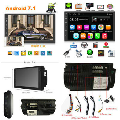 7'' 2 Din Car Stereo GPS Wifi 3G 4G BT DVR DAB Mirror Link OBD TV TPMS HD Video