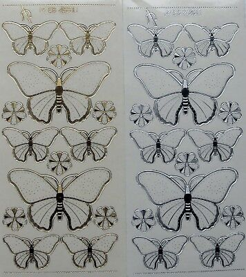 Embossed on Clear Embroidery Butterflies PEEL OFF STICKERS Stitching Flowers