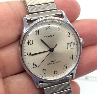 Vintage Timex Mens Silver Tone Mechanical Watch Expansion Band Date Works Great