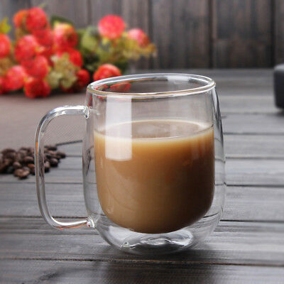 Coffee Cup 300ml Heat-resistant Double Layers Handle Durable Transparent