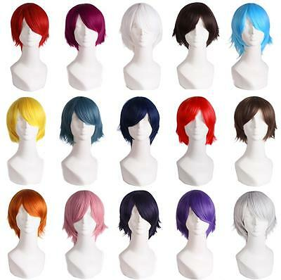 Unisex Womens Mens Straight Short Hair Wig Cosplay Party Anime Full Wig Stylist/