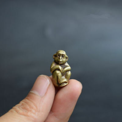 Chinese Old Collectibles pure brass lucky Zodiac monkey mini statue