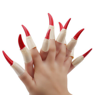 10x Halloween Witch Fingers Fake Nails Glow in the Dark Spooky Witches Finger N7