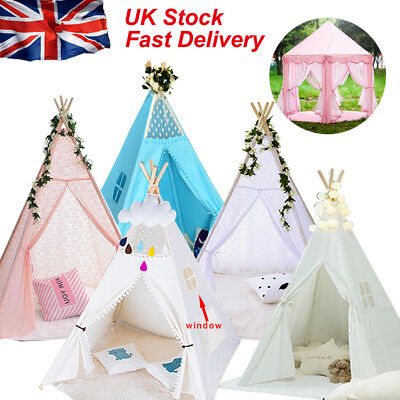 100% Cotton Canvas Kids Teepee Tent Childrens Wigwam Indoor Outdoor Play House g
