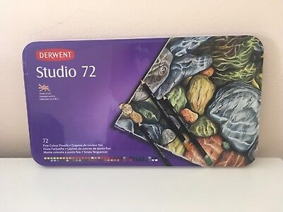 Derwent Studio Coloured Pencils in Tin Case - 72 Pack. As new.