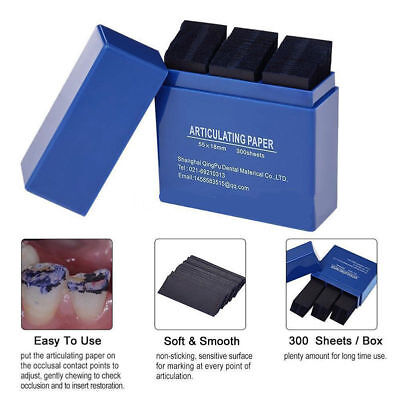 300 Sheets/Box Dental Restoration Occlusion Articulating Paper Strips Blue