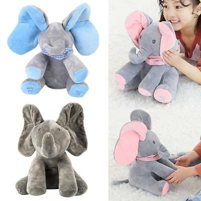 Baby Peek-a-boo Elephant Plush Toy Music Singing Stuffed Animated Ximas Doll 12""