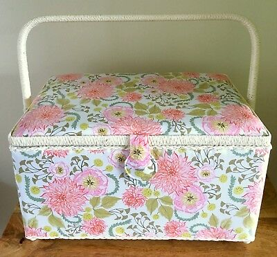 SEWING BOX BASKET EXTRA LARGE 'FABLE FLORAL' DESIGN Very Pretty Super Quality
