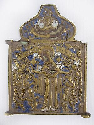 Antique 19th Russian Orthodox Brass Enamel icon Mother of Good Joy of All