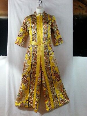 VTG 60s Penny's Lounge Wear Palazzo Jump-Suit Yellow Paisley Quilted Go-Go P/S