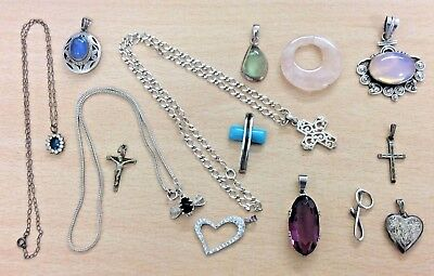 GREAT JOB LOT OF VINTAGE STERLING SILVER PENDANTS & NECKLACES 80 g