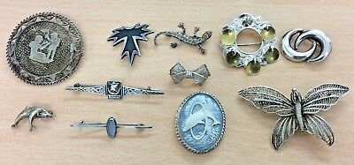 GREAT JOB LOT OF 10 VINTAGE STERLING, NORWEGIAN & EGYPTIAN SILVER BROOCHES 78 g