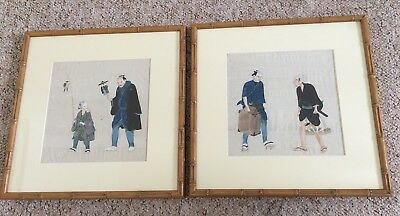 Pair Of Antique Japanese Watercolours Framed