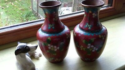 A Pair Of Vintage Or Antique Chinese Cloisonne Vases