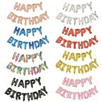 "Happy Birthday Balloon Self-Inflating 16"" Foil Decoration Banner 4 X Colours"